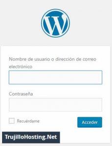 Pantalla de acceso al administrador de wordpress