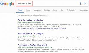 Búsqueda usando inurl en google