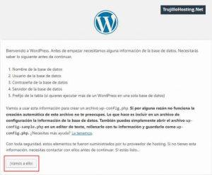 Pantalla de bienvenida a la instalación de wordpress