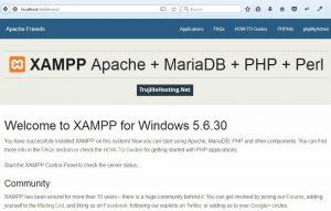 Página principal del servidor web local(xampp)