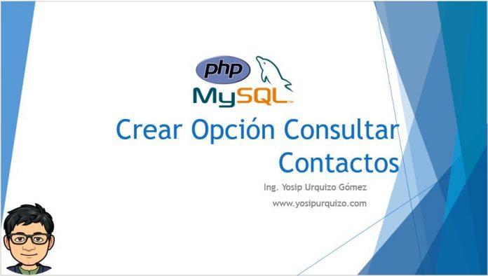 Crear Opcion Consultar Contactos